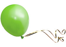 Green balloon with golden ribbon Stock Photo