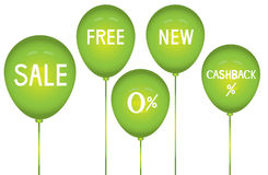 Green balloons and discounts,Use for advertisement ,Vector illustrations Royalty Free Stock Photo