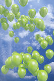 Green Balloons Flying In The Air Royalty Free Stock Image