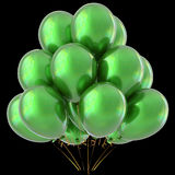 Green balloons happy birthday party decoration glossy Royalty Free Stock Photography