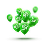 Green balloons market advertisment sale concept. Store or shop marketing banner design. Retail discount background Stock Images