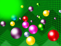 Green Balls Background Shows Brightness Colorful And Graph Stock Photo