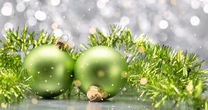 Green balls and garlands Royalty Free Stock Photo