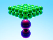 Green balls and red ball Royalty Free Stock Images