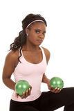 Green balls weights Royalty Free Stock Image