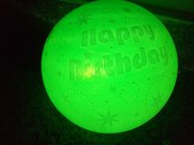 Green baloon. Light baloon captures with mobile royalty free stock image