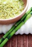 Green bamboo bath salt Stock Images