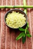 Green bamboo bath salt Stock Photo