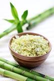 Green bamboo bath salt Stock Photos