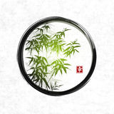 Green bamboo in black enso zen circle. Traditional Japanese ink painting sumi-e. Contains hieroglyph - happiness. Vector illustration Stock Photo