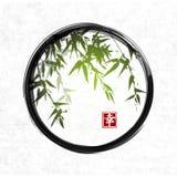 Green bamboo in black enso zen circle. Stock Photography