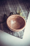 Green bamboo and bowl Stock Images