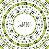 Green bamboo circle frame. Doodle label for natural products. Vector background. Royalty Free Stock Image