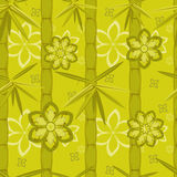 Green bamboo and flowers pattern Stock Images