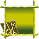 Green bamboo frame with pillow Royalty Free Stock Photography