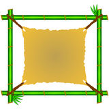 Green bamboo frame with ragged canvas Stock Photos