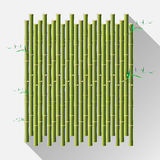 Green bamboo mat, wal, diy, isolate on white background. vector Royalty Free Stock Images