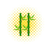 Green bamboo stem icon in comics style Royalty Free Stock Image