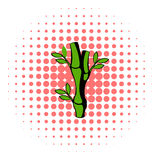 Green bamboo stem icon, comics style Stock Image