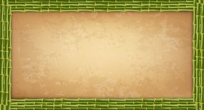 Green bamboo sticks frame with higly detailed vintage paper blank or canvas vector illustration