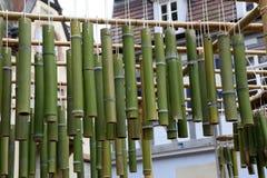 Green bamboo sticks. Green Bamboo tubes hang around the house. Green Bamboo tubes hang around the house royalty free stock photos