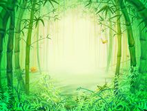 Green bamboo trees inside the forest. Illustration of the green bamboo trees inside the forest. Background or frame Royalty Free Stock Photos