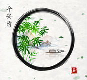 Green bamboo trees, island with mountains and fishing boat in black enso zen circle. Traditional oriental ink painting. Sumi-e, u-sin, go-hua. Contains Stock Images