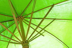Green bamboo umbrella Stock Photos