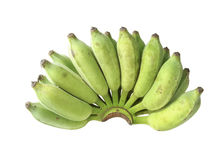 Green banana. On a white background. Isolated Stock Photos