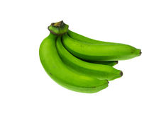 Green banana bundle on a white background. Green banana  on a white background Stock Photography