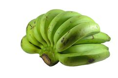 Green banana. Isolated on white background Stock Photo