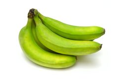 Green bananas. Against white background Royalty Free Stock Image