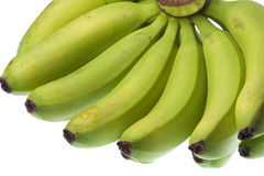 Green Bananas Isolated Stock Photo