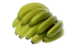 Green Bananas Isolated Stock Images