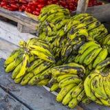 Green bananas in a market Stock Photo