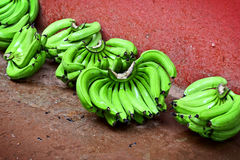 Green bananas on red floor Royalty Free Stock Images