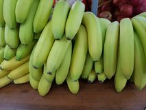 Green bananas in the store stock photos