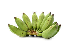 Green bananas on white background.  Royalty Free Stock Photos