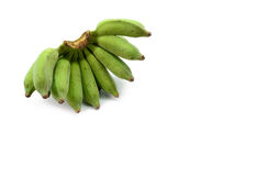 Green bananas on white background.  Royalty Free Stock Images