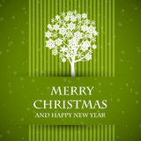 Green banned christmas card with christmas tree Royalty Free Stock Images