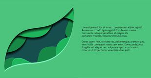 Green banner with 3d tree leaf cut out from paper. Vector template for presentations, banners, flyers and your design Royalty Free Stock Photos