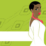 Green banner with dark-skinned woman Royalty Free Stock Image