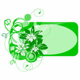 Green banner with flowers Royalty Free Stock Photo