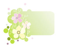 Green banner with flowers Royalty Free Stock Images