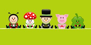 Green Banner Ladybug Fly Agaric Chimney Sweep Pig And Cloverleaf. Green Banner Sitting Ladybug Fly Agaric Chimney Sweep Pig And Cloverleaf On A String royalty free illustration
