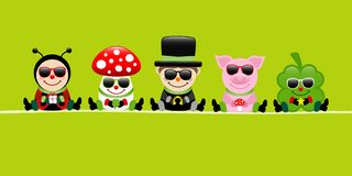Green Banner Ladybug Fly Agaric Chimney Sweep Pig And Cloverleaf Sunglasses stock illustration