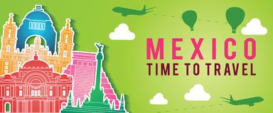 Green banner of Mexico famous landmark silhouette colorful style,plane and balloon fly around with cloud stock photography