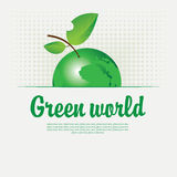Green banner with with a picture of the planet Royalty Free Stock Photography