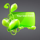 Green banner with plant Royalty Free Stock Images