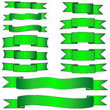 Green banner set. Illustration: green banner set (ribbons Stock Image
